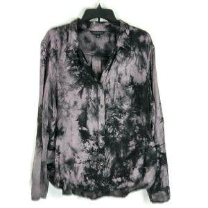 XL ROCK & REPUBLIC Tie Dye Button Down Gray Shirt